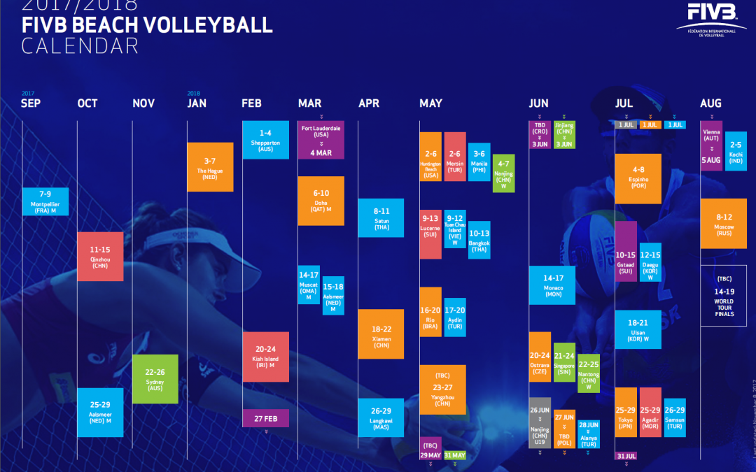 new fivb world tour calendar 2018 eleven 4 star events and a shift to